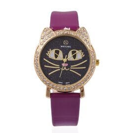 STRADA Japanese Movement White Austrian Crystal Studded Water Resistant Kitty Face Purple Stardust Dial Watch with Purple Strap
