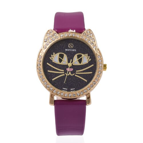 STRADA Japanese Movement White Crystal Studded Water Resistant Kitty Face Purple Stardust Dial Watch with Purple Strap