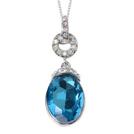 Simulated Sky Blue Topaz (Ovl 18x13 mm), Simulated Mystic White Crystal Pendant With Chain (Size 20