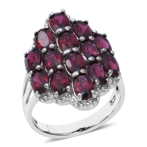 One Time Deal- Orissa Rhodolite Garnet (Ovl) Cluster Ring in Rhodium Overlay Sterling Silver 8.00 Ct