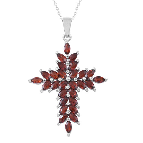 Mozambique Garnet (Mrq) Cross Pendant With Chain in Rhodium Plated Sterling Silver 3.000 Ct.