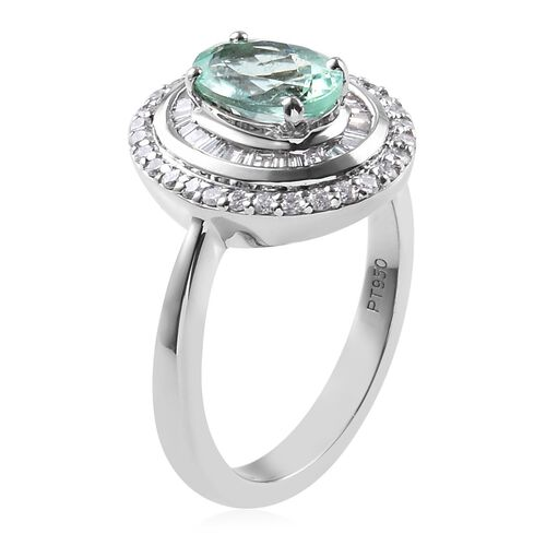 RHAPSODY 950 Platinum AAAA Mozambique Paraiba Tourmaline and Diamond (VS/E-F) Ring 1.34 Ct, Platinum wt 6.43 Gms