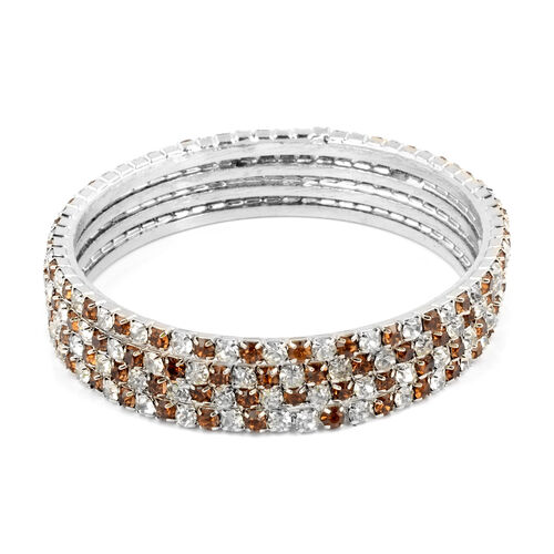 4 Piece Set - Light Brown Austrian Crystal Bangle (Size 7) in Silver Tone