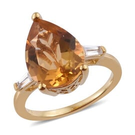 Uruguay Citrine (Pear 14x10 mm), Natural Cambodian Zircon Ring in 14K Gold Overlay Sterling Silver 3.500 Ct.