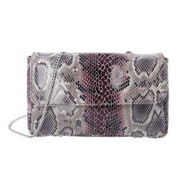 100% Genuine Leather Snake Print Crossbody Sling Bag (Size 26.5x7.5x17.5 Cm) - Grey