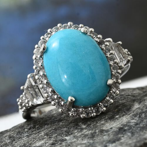 Arizona Sleeping Beauty Turquoise (Ovl 7.00 Ct), White Topaz Ring in Platinum Overlay Sterling Silver 8.750 Ct.