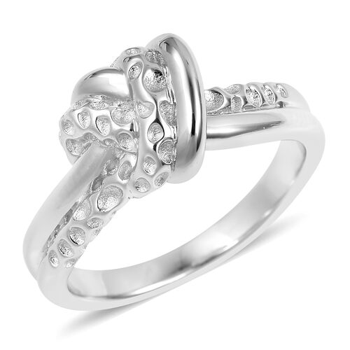 RACHEL GALLEY Rhodium Overlay Sterling Silver Knot Ring, Silver wt 6.39 Gms.