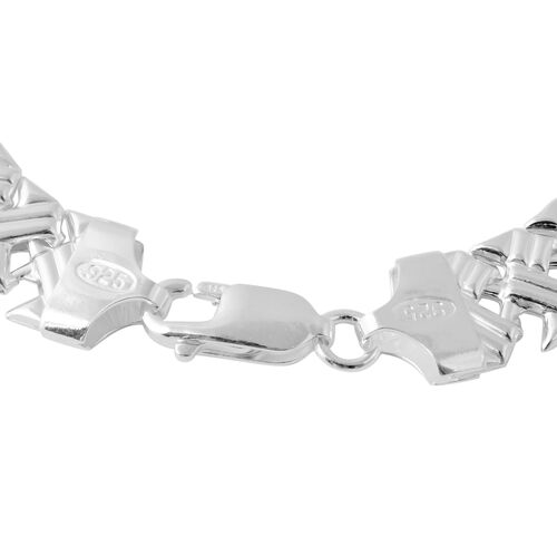 Vicenza Collection-Sterling Silver Criss Cross Bracelet (Size 7.5), Silver wt 7.70 Gms