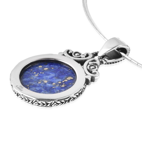 2 Piece Set - Carved Lapis Lazuli Necklace (Size 18) and Pendant in Stainless Steel 17.45 Ct.