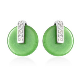Green Jade and Natural Cambodian Zircon Earrings in Rhodium Overlay Sterling Silver 6.35 Ct.