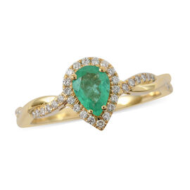 ILIANA 18K Yellow Gold AAA Boyaca Colombian Emerald and Diamond (SI/G-H) Ring 0.73 Ct.