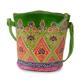 100% Genuine Leather Handmade Printed Shoulder Bag with Zip Closure (Size 19x18 Cm) - Green and Mult