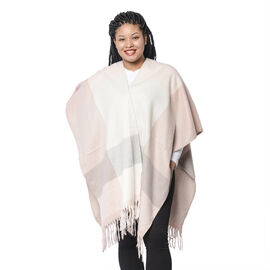 Checker Pattern Kimono with Tassel Hem in Pink, White and Grey (110x80x10cm)