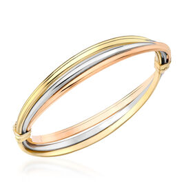 Hatton Garden Close Out- 9K Yellow, Rose & White Gold Russian Style Bangle, Gold wt. 7.2 Gms