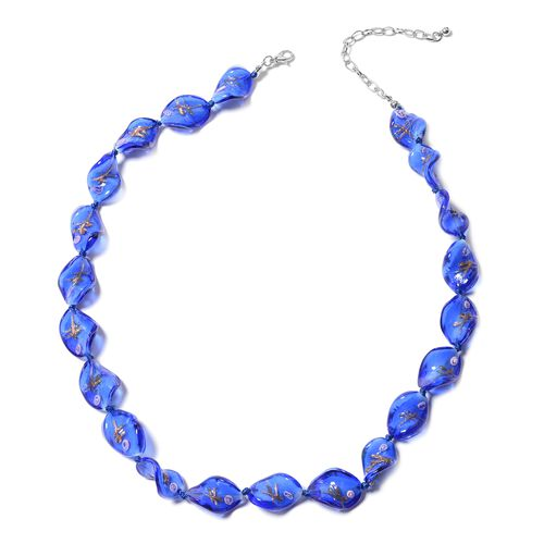 2 Piece Set - Blue Colour Murano Glass Beads Necklace (Size 20 with 3 inch Extender) and Hook Earrings in Stainless Steel