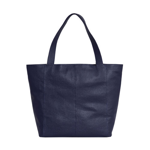 Assots London CORDER Pebble Grain Genuine Leather Tote Bag with Magnetic Closure (Size 45-33x11x32 Cm) - Navy