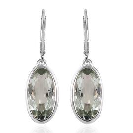 Prasiolite (Ovl 16x8 mm) Lever Back Earrings in Platinum Overlay Sterling Silver 8.250 Ct.