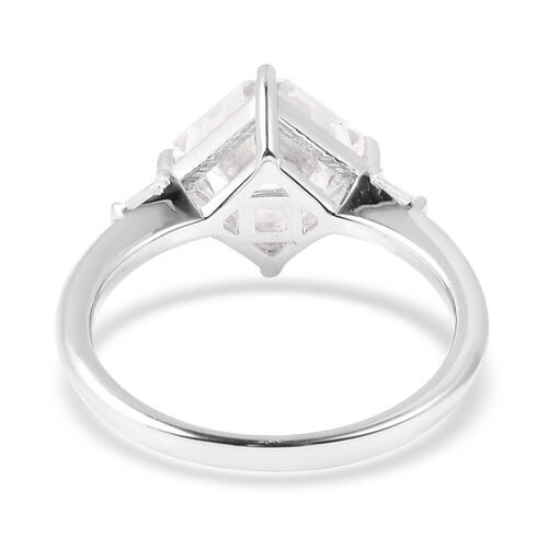 J Francis - Rhodium Overlay Sterling Silver Ring Made with SWAROVSKI ZIRCONIA