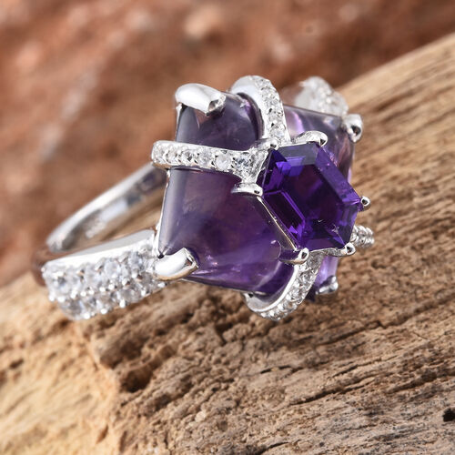 Designer Inspired Amethyst (Sqr 7.60 Ct), Natural Cambodian Zircon Ring in Platinum Overlay Sterling Silver 8.000 Ct.