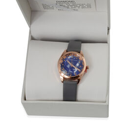 Close Out Deal - DIAMOND & CO LONDON- Diamond Studded Watch with Leather Strap - Blue Mother of Pear