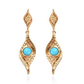 1 Carat Arizona Sleeping Beauty Turquoise Dangle Earrings in Gold Plated Sterling Silver 5 Grams