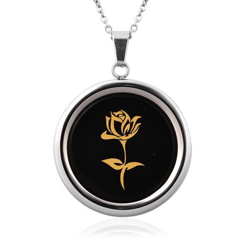 Black Agate Rose Pattern Pendant with Chain (Size 20) with Magnifying Glass Tool in Stainless Steel