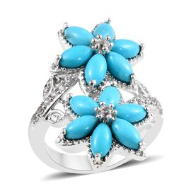 3.75 Ct Sleeping Beauty Turquoise and Zircon Twin Floral Ring in Platinum Plated Silver 6.48 Grams