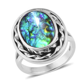 3.63 Ct Canadian Ammolite Solitaire Ring in Sterling Silver 5.85 Grams