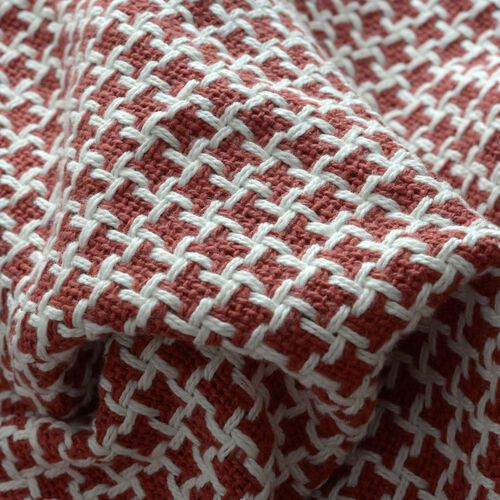 100% Cotton Houndstooth Pattern Red and White Colour Plaid with Tassels (Size 150x125 Cm)