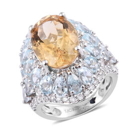 GP Citrine (Ovl 5.250 Ct), Multi Gem Stone Ring in Platinum Overlay Sterling Silver 12.000 Ct, Silve