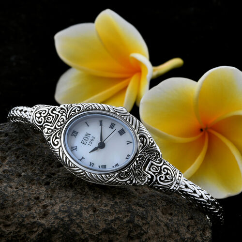 Royal Bali Collection EON 1962 Sterling Silver Filigree Tulang Naga Bracelet Watch (Size 7), Metal wt 33.00 Gms.