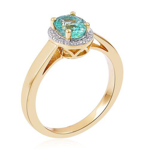 9K Yellow Gold 1.33 Ct Boyaca Colombian Emerald, Diamond Ring