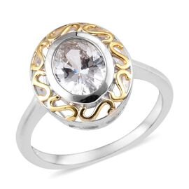 J Francis Made with SWAROVSKI ZIRCONIA Solitaire Ring in Platinum and Yellow Gold Plated Silver