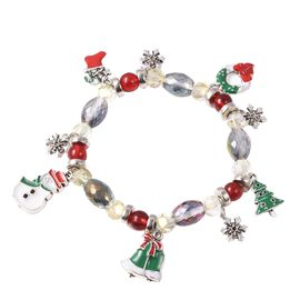 Multicolour Simulated Gemstone Christmas Multi Charm Stretchable Bracelet 7.5 Inch