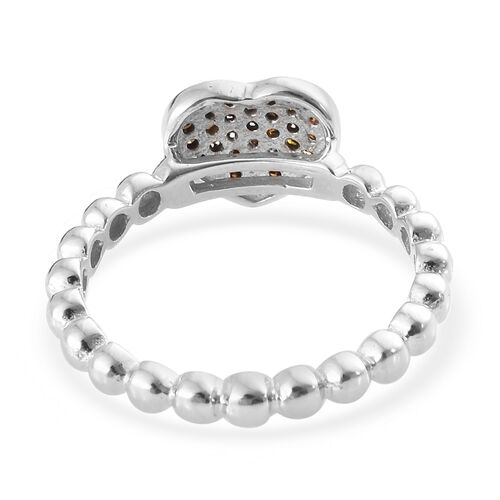 Diamond (Rnd) Heart Band Ring in Platinum Overlay Sterling Silver Ring 0.200 Ct.