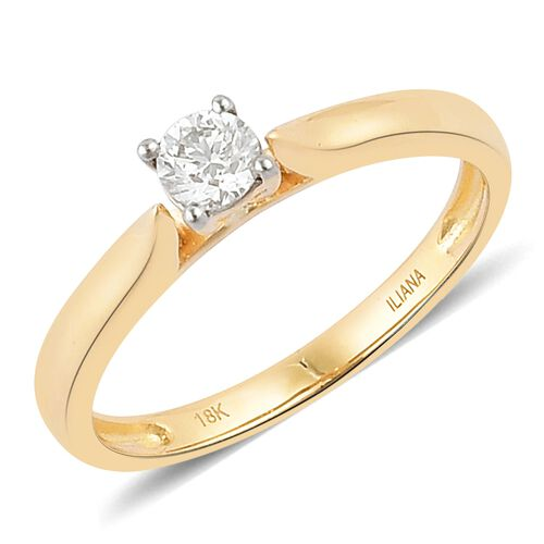 ILIANA 0.25 Carat IGI Certified Solitaire Diamond Ring in 18K Gold