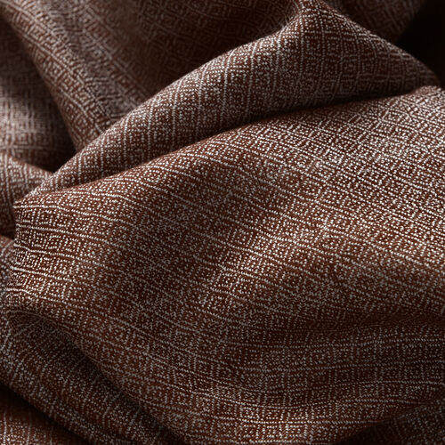 Mulberry Silk, Merino Wool Blend (50%) Handloom Chocolate and Silver Colour Reversible Motif Scarf (Size 190x70 Cm)