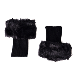 Pair of Crochet Faux Fur Knit Boot Toppers-Black Size:W15xL25cm Material acrylic Weight 65g