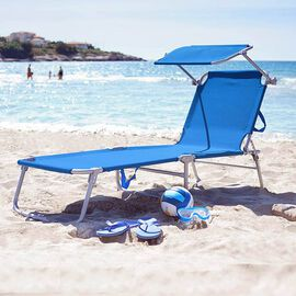 Folding Sun Lounger with Adjustable Backrest and Sun Shade Roof (Size 188x56x30 Cm) - Blue
