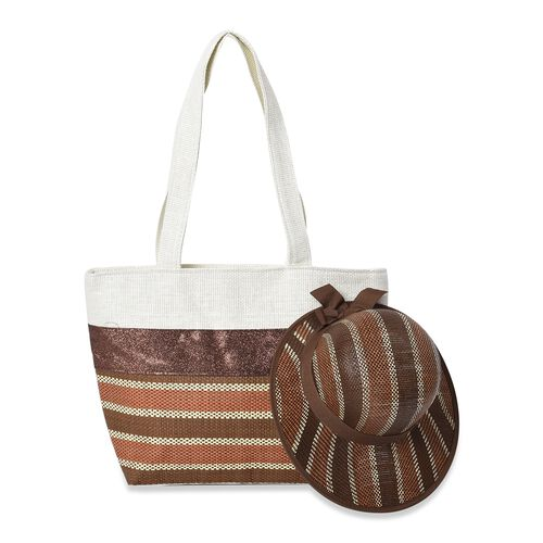 2 Piece Set - Strip Pattern Tote Bag with Zipper Closure (Size 44x30x14 Cm) and Hat with Bowknot (Si