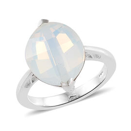 J Francis Crystal From Swarovski - Crystal Opal (Mrq 14x11 mm) Solitaire Ring in Sterling Silver