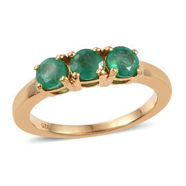 One Time Deal- Santa Terezinha Premium Emerald (Rnd) Trilogy Ring in 14K Gold Overlay Sterling Silve