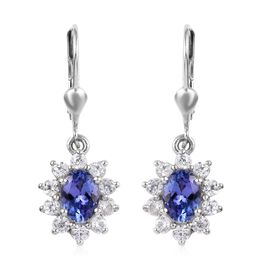 3 Carat Tanzanite and Zircon Halo Drop Earrings in Platinum Plated Sterling Silver