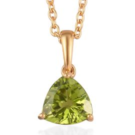 AA Hebei Peridot Pendant With Chain (Size 20) in 14K Yellow Gold Overlay Sterling Silver 2.00 Ct.