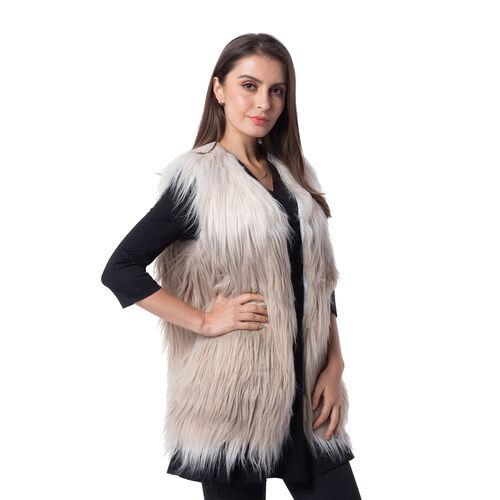 Designer Inspired - Off White and Dark Grey Colour faux Fur Vest (Size 70x50 Cm)