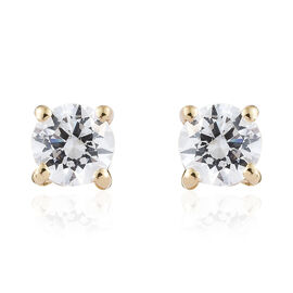 J Francis 9K Yellow Gold (Rnd) Stud Earrings (With Push Back) Made With Swarovski Zirconia (4 mm)