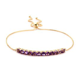 Amethyst Bolo Adjustable Bolo Bracelet in Gold Plated Silver 6.06 Grams 6.5 to 9 Inch
