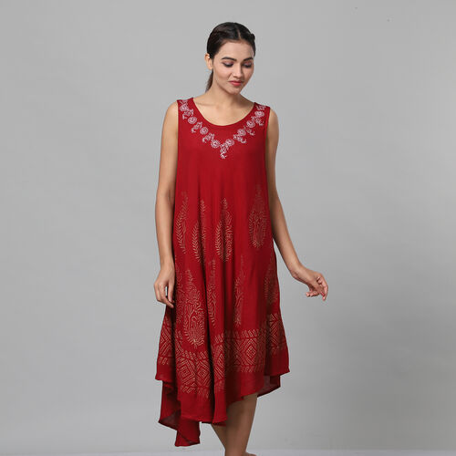 Tie & Dye Umbrella Dress in Wine Red (Size upto 18) Length - 120cm/47in