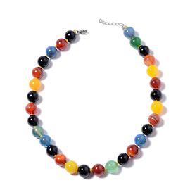 Multi Agate Beaded Necklace in Stainless Steel 18 with 2 inch Extender