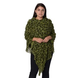 Leopard Pattern Winter Poncho with Tassels (Size 65x80 Cm) - Green and Black